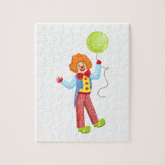 Colorful Friendly Clown With Balloon In Classic Ou Jigsaw Puzzle