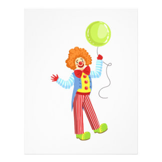 Colorful Friendly Clown With Balloon In Classic Ou Letterhead