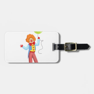 Colorful Friendly Clown With Balloon In Classic Ou Luggage Tag
