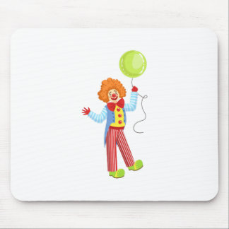 Colorful Friendly Clown With Balloon In Classic Ou Mouse Pad