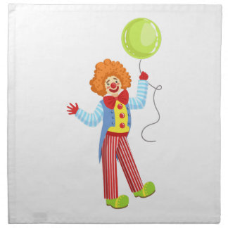 Colorful Friendly Clown With Balloon In Classic Ou Napkin