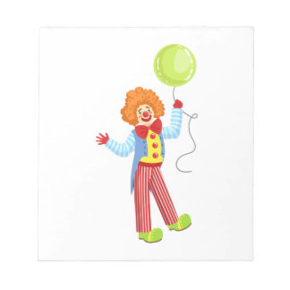 Colorful Friendly Clown With Balloon In Classic Ou Notepad