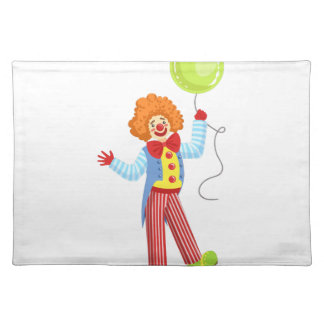 Colorful Friendly Clown With Balloon In Classic Ou Placemat