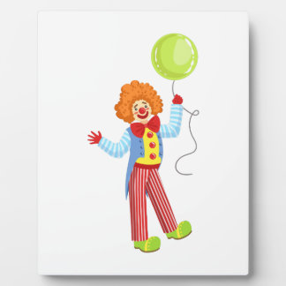Colorful Friendly Clown With Balloon In Classic Ou Plaque