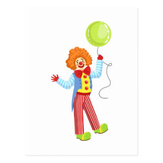 Colorful Friendly Clown With Balloon In Classic Ou Postcard