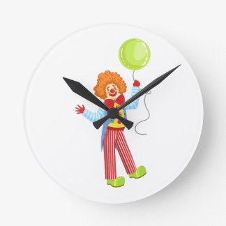 Colorful Friendly Clown With Balloon In Classic Ou Round Clock