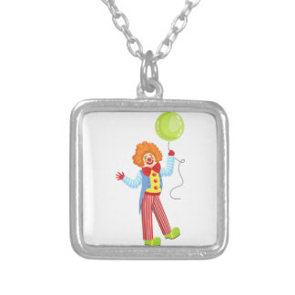 Colorful Friendly Clown With Balloon In Classic Ou Silver Plated Necklace