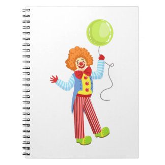 Colorful Friendly Clown With Balloon In Classic Ou Spiral Notebook