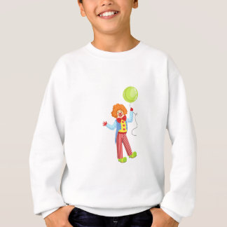Colorful Friendly Clown With Balloon In Classic Ou Sweatshirt