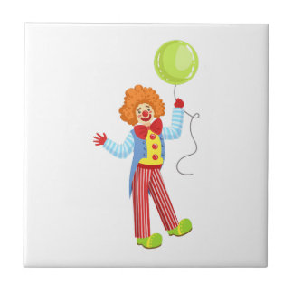 Colorful Friendly Clown With Balloon In Classic Ou Tile
