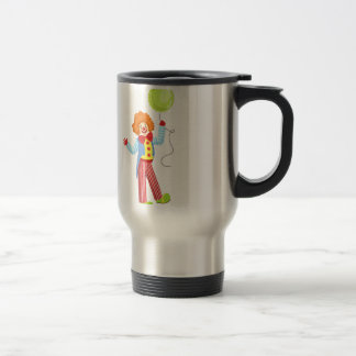 Colorful Friendly Clown With Balloon In Classic Ou Travel Mug