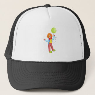 Colorful Friendly Clown With Balloon In Classic Ou Trucker Hat