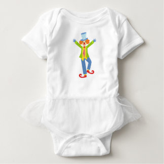 Colorful Friendly Clown With Curled Shoes In Class Baby Bodysuit