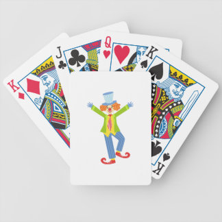 Colorful Friendly Clown With Curled Shoes In Class Bicycle Playing Cards