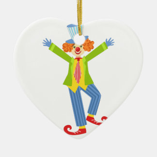Colorful Friendly Clown With Curled Shoes In Class Ceramic Ornament