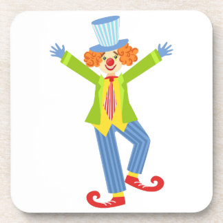 Colorful Friendly Clown With Curled Shoes In Class Coaster