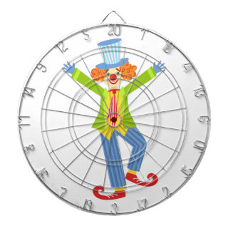 Colorful Friendly Clown With Curled Shoes In Class Dartboard