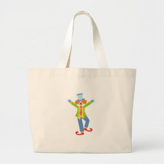 Colorful Friendly Clown With Curled Shoes In Class Large Tote Bag
