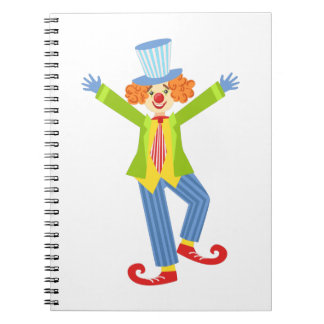 Colorful Friendly Clown With Curled Shoes In Class Notebook