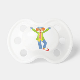 Colorful Friendly Clown With Curled Shoes In Class Pacifier