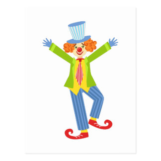 Colorful Friendly Clown With Curled Shoes In Class Postcard
