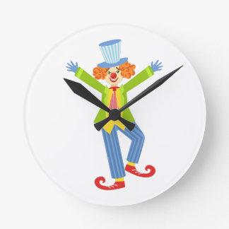 Colorful Friendly Clown With Curled Shoes In Class Round Clock