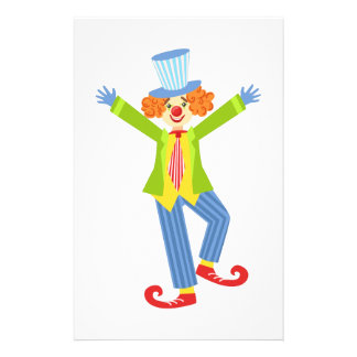 Colorful Friendly Clown With Curled Shoes In Class Stationery