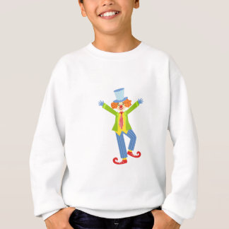 Colorful Friendly Clown With Curled Shoes In Class Sweatshirt