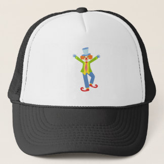Colorful Friendly Clown With Curled Shoes In Class Trucker Hat