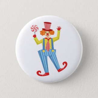 Colorful Friendly Clown With Lollypop In Classic O 2 Inch Round Button