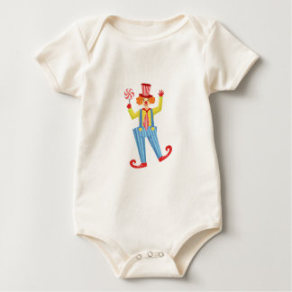 Colorful Friendly Clown With Lollypop In Classic O Baby Bodysuit
