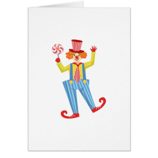 Colorful Friendly Clown With Lollypop In Classic O Card