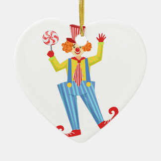 Colorful Friendly Clown With Lollypop In Classic O Ceramic Ornament