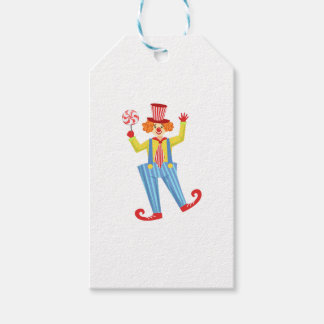 Colorful Friendly Clown With Lollypop In Classic O Gift Tags