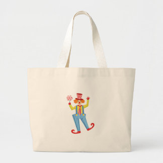 Colorful Friendly Clown With Lollypop In Classic O Large Tote Bag