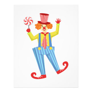 Colorful Friendly Clown With Lollypop In Classic O Letterhead