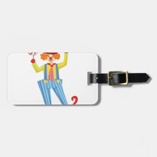 Colorful Friendly Clown With Lollypop In Classic O Luggage Tag