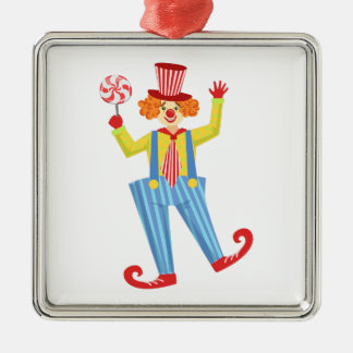 Colorful Friendly Clown With Lollypop In Classic O Metal Ornament