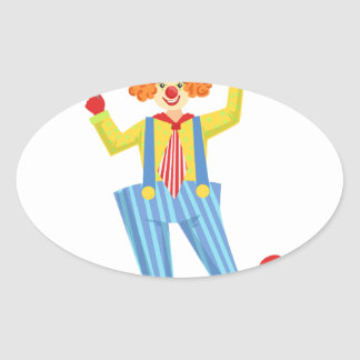 Colorful Friendly Clown With Lollypop In Classic O Oval Sticker