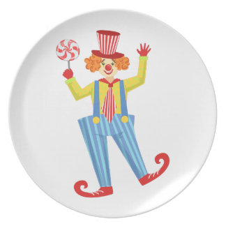 Colorful Friendly Clown With Lollypop In Classic O Plate