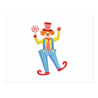 Colorful Friendly Clown With Lollypop In Classic O Postcard