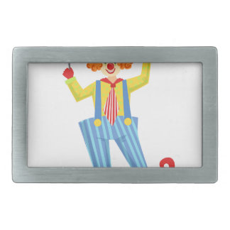 Colorful Friendly Clown With Lollypop In Classic O Rectangular Belt Buckle