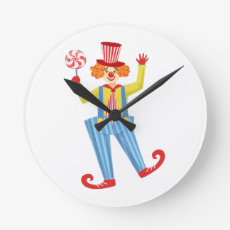 Colorful Friendly Clown With Lollypop In Classic O Round Clock