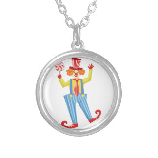 Colorful Friendly Clown With Lollypop In Classic O Silver Plated Necklace