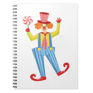 Colorful Friendly Clown With Lollypop In Classic O Spiral Notebook