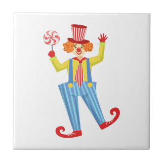 Colorful Friendly Clown With Lollypop In Classic O Tile