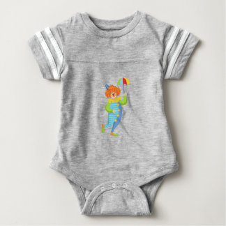 Colorful Friendly Clown With Mini Umbrella Baby Bodysuit