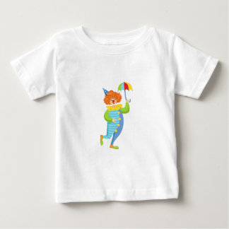 Colorful Friendly Clown With Mini Umbrella Baby T-Shirt