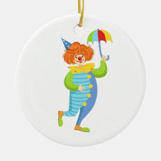 Colorful Friendly Clown With Mini Umbrella Ceramic Ornament
