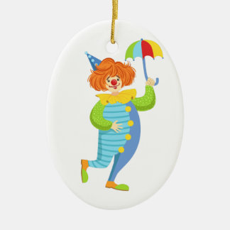 Colorful Friendly Clown With Mini Umbrella Ceramic Ornament